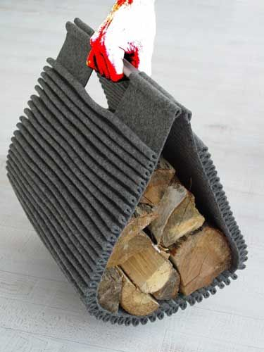 Corrugated Felt Log Holder (Texture on top of texture)