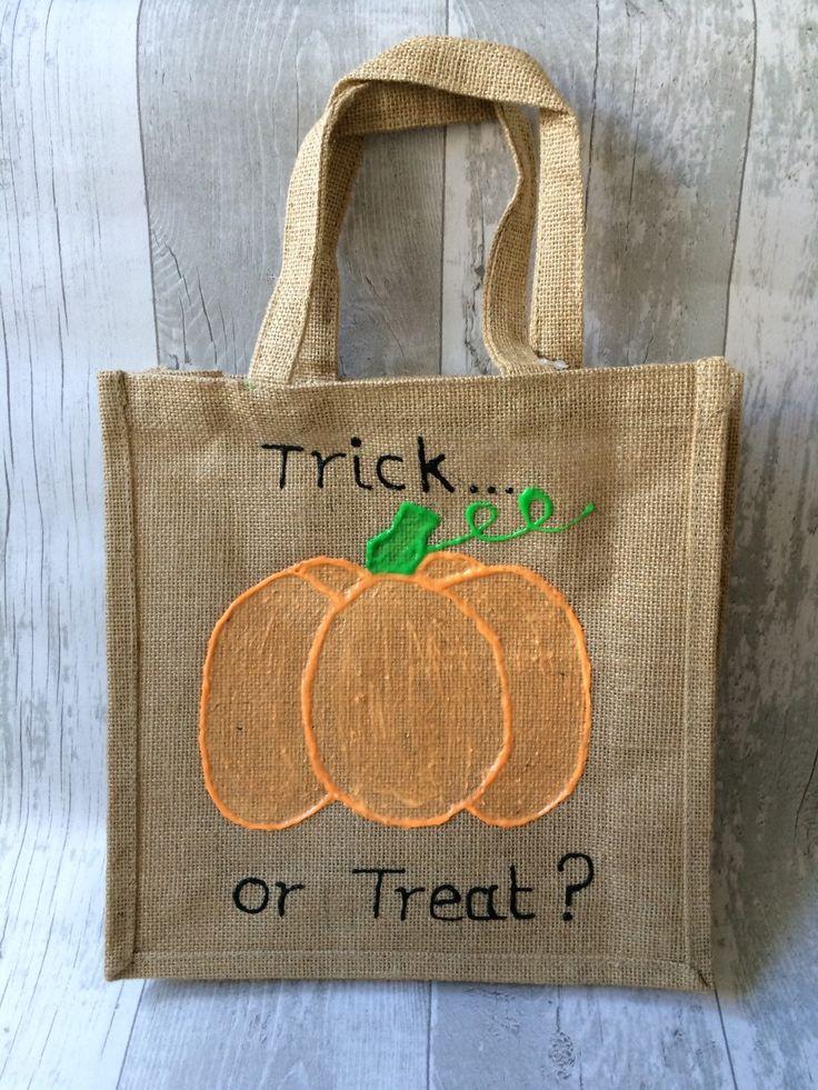 Trick or Treat Bag Jute Bag Pumpkin Glow in the Dark - pinned by pin4etsy.com