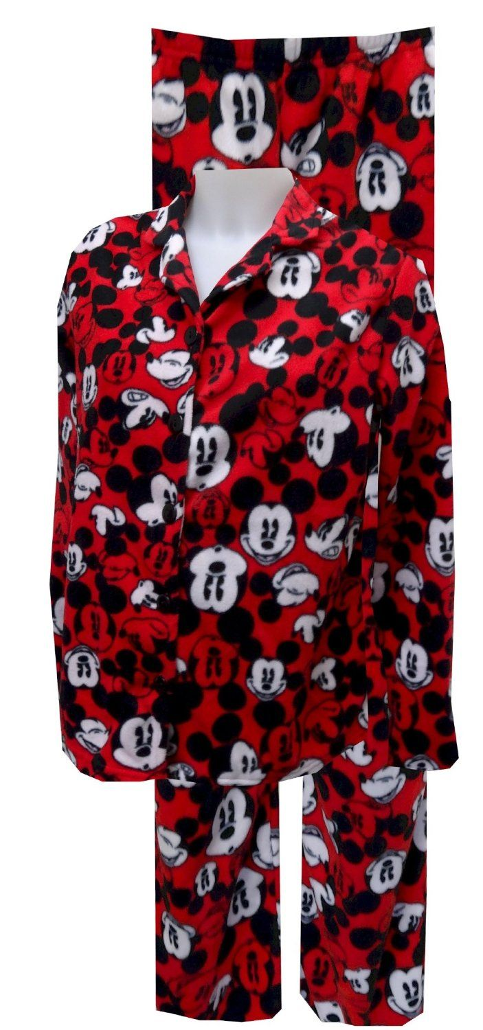 mickey mouse pajamas for women | Disney's Mickey Mouse Red Print Fleece Pajama GET DETAILS