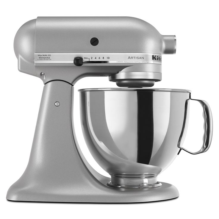 The silver KitchenAid Artisan 5-quart mixer is an aesthetic piece. It works wonderfully as a mixer and has a nice appearance. Keep it on the counter as decor when not in use. Has ten speeds and takes up about one square foot of counter space.