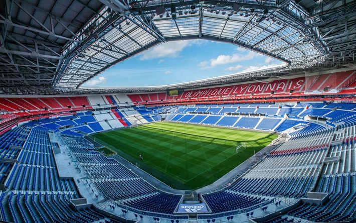 Download wallpapers Parc Olympique Lyonnais, Lyon, football stadium, France, football lawn, Olympique Lyonnais Stadium