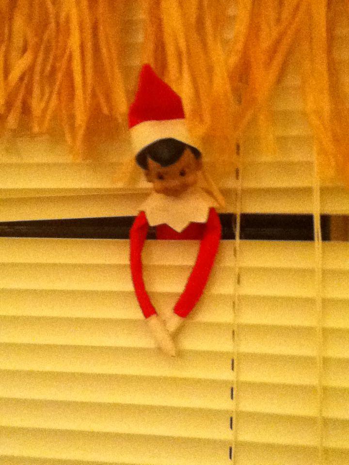 Elf on the Shelf (Rough Landing! Got tangled in the blinds!) 2013