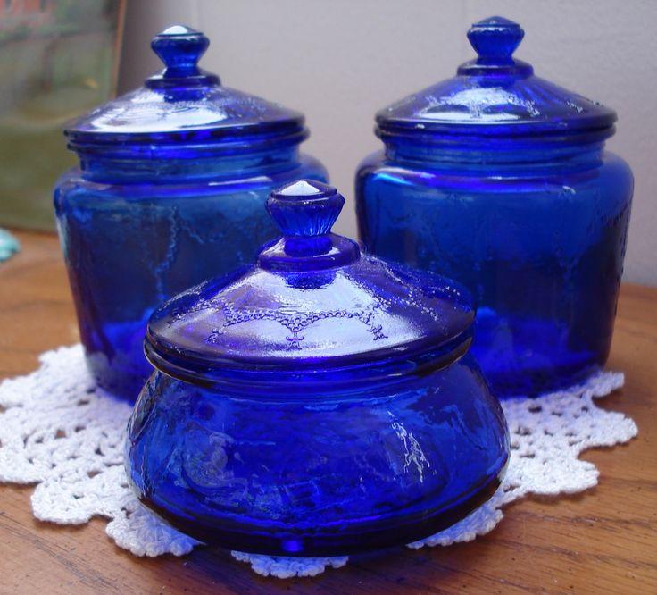 Tres Amigos Vintage Set Three Cobalt Glass Jars with Lids. $29.00, via Etsy.