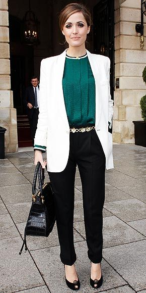 white jacket, green blouse, black pants and pumps, metal acsesories