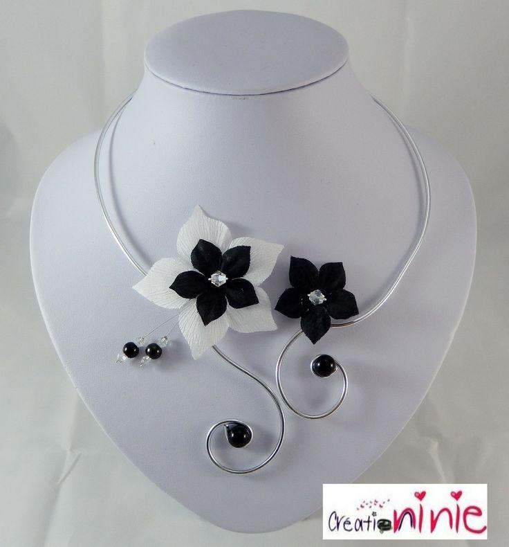 """Collier mariage blanc et noir """"Tania"""" - personnalisable : Collier par creation-ninie"""