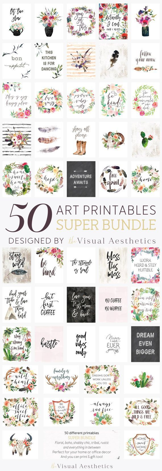 Bundle of 50 art printables by VisualAesthetics Boho, rustic, floral, inspirational quotes and everything in between.