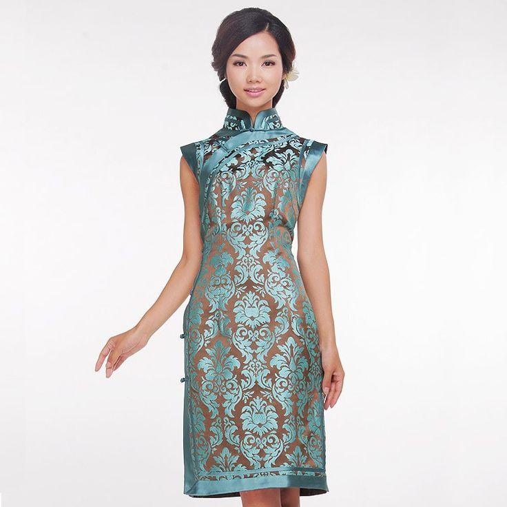 Classic Cheongsam Dress Brocade Blue Floral - Elegente.com