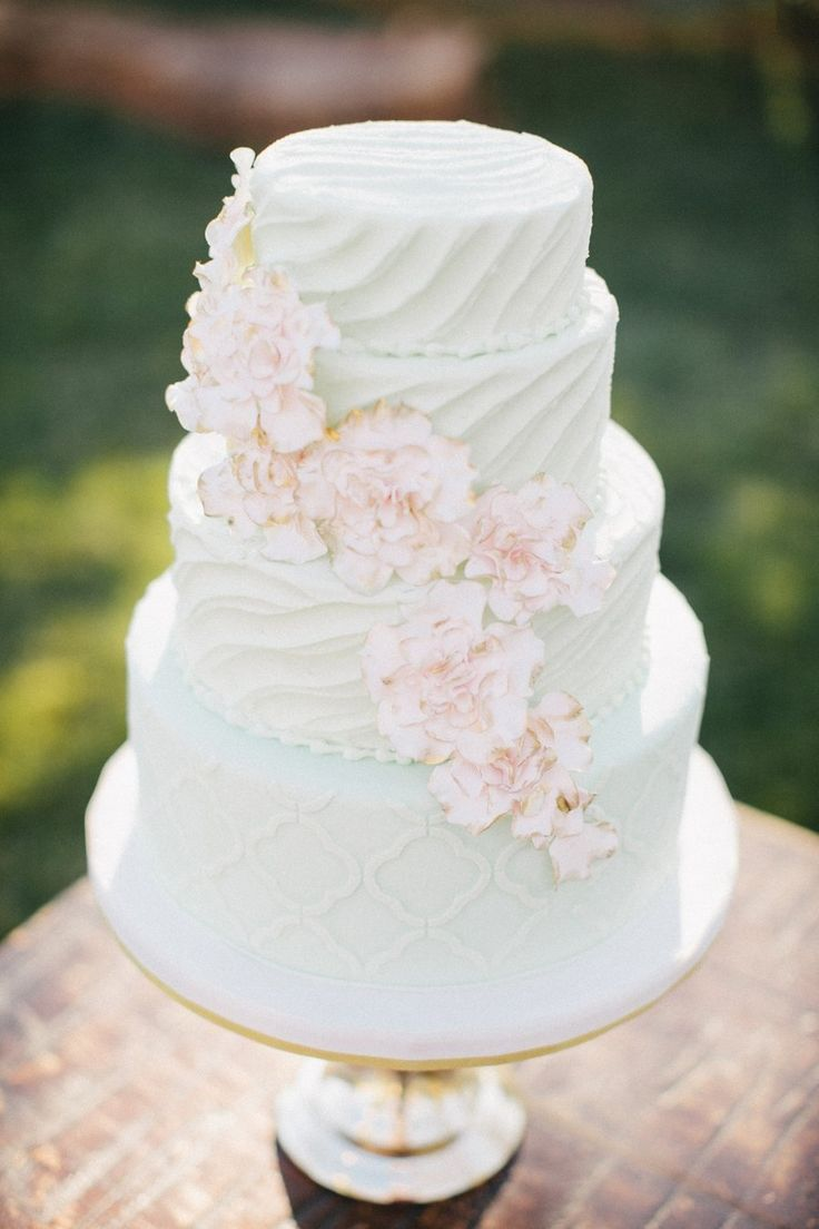 <3 the texture and pattern on this cake! Photography + Design by jendillenderphotography.com, Event Planning by embellishedweddingsok.com, Floral Design by thebirdiesnest.com, Read more - http://www.stylemepretty.com/2013/06/18/spring-inspired-photo-shoot-from-jen-dillender-photography-embellished-weddings/