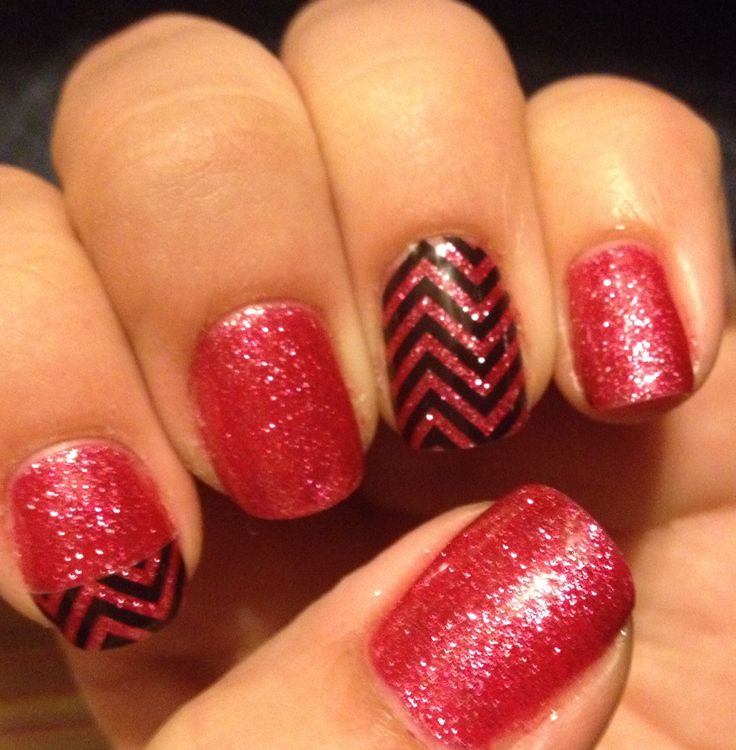 Gelish (high voltage)with jamberry chevron