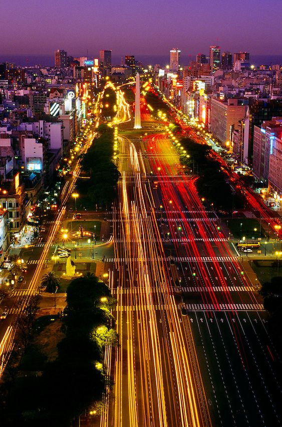 Avenida 9 de Julio (widest avenue in the world) and the Obelisk, Buenos Aires, Argentina | Blaine Harrington III