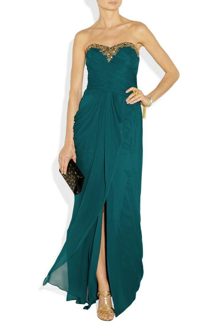 Notte By Marchesa Embellished Draped SilkChiffon Gown in Green (teal) | Lyst