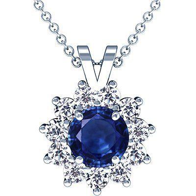 Platinum Round Cut Blue Sapphire And Round Diamond Pendant (GIA Certificate) GemsNY. $14395.00