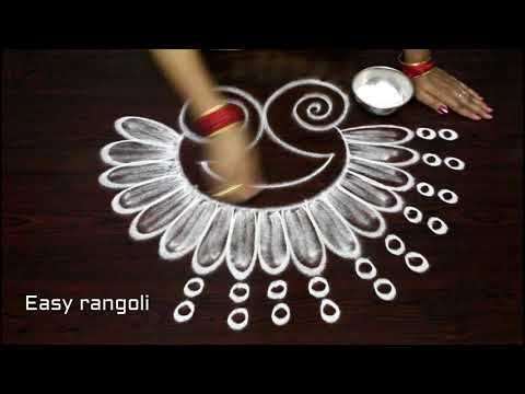 how to draw simple peacock rangoli designs with out dots || easy kolam designs || muggulu designs - YouTube