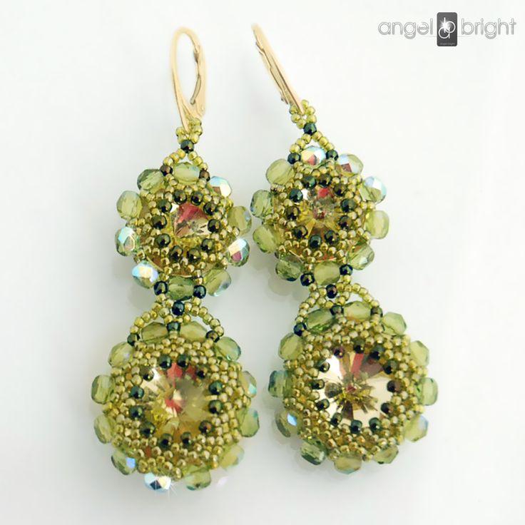 Kolczyki oliwkowe kryształowe Swarovski Srebro Pozłacane Angel Bright biżuteria artystyczna