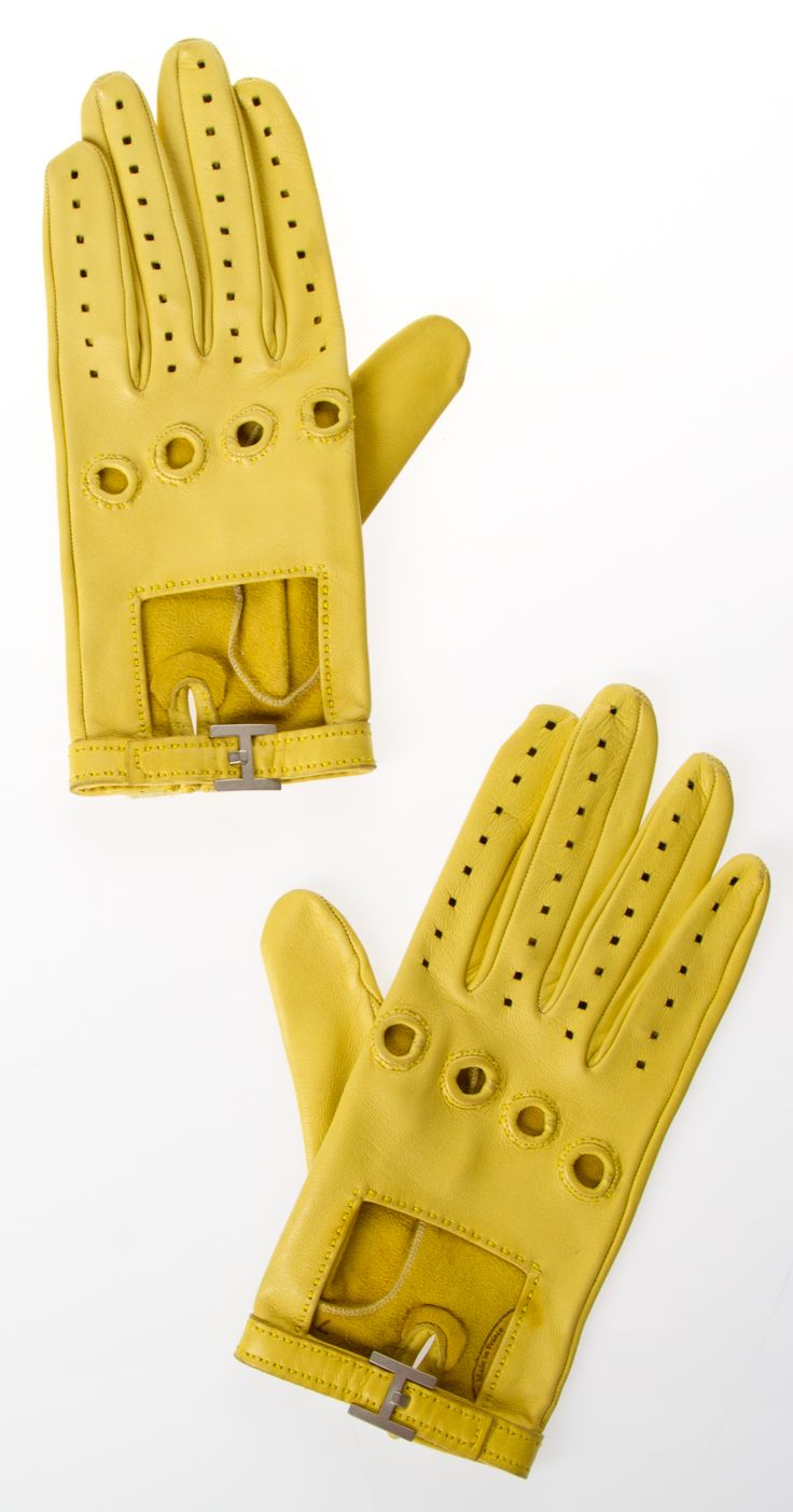 High end leather driving gloves - Hermes Gloves Hermes Yellow Lambskin Leather Gloves Luxurious Leather Driving Gloves From Hermes With An H