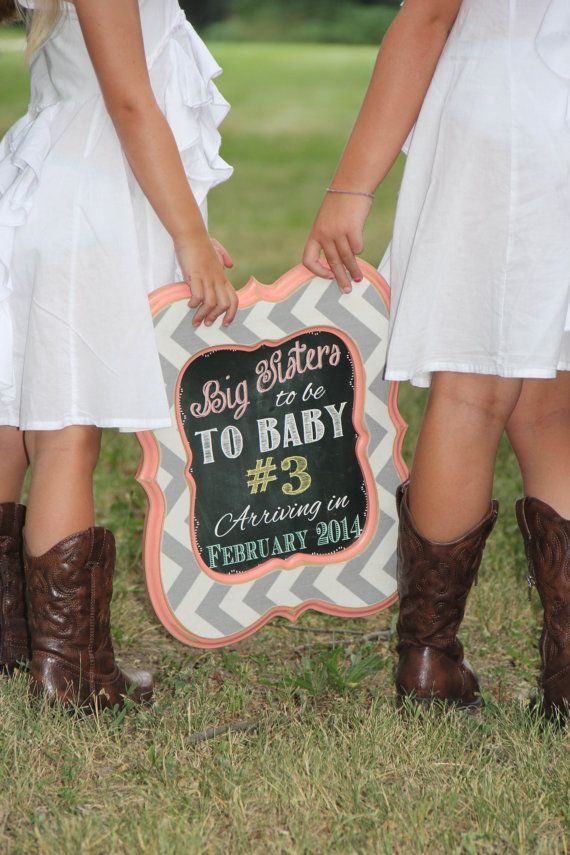 Shabby Chic Vintage Chalkboard Baby Announcement Photo Shoot Prop Sign For Big Sister or Brother
