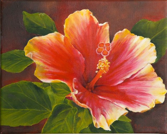 Acrylic paintings of hibiscus hibiscus flower paintings for Floral acrylic paintings