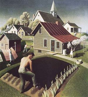 """Google Image Result for http://www.america-the-globe.net/images/grant_wood_plows_w.jpg Grant Wood, """"Spring in Town."""" 1941"""