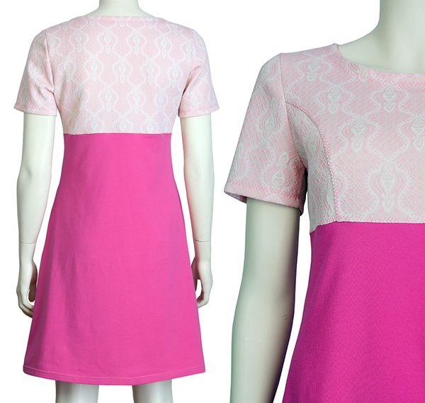 Jurkje Emma, roze katoenen tricot met een jaren 60 tissuedtof. Pop Rok