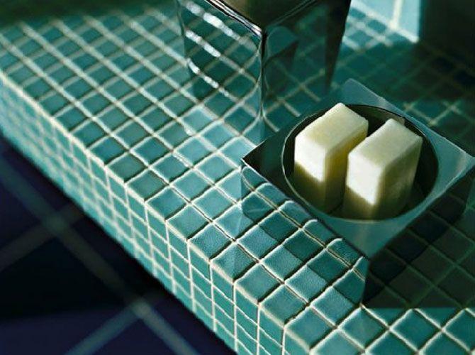 plan de travail de salle de bain en mosaique turquoise - Mosaique Turquoise