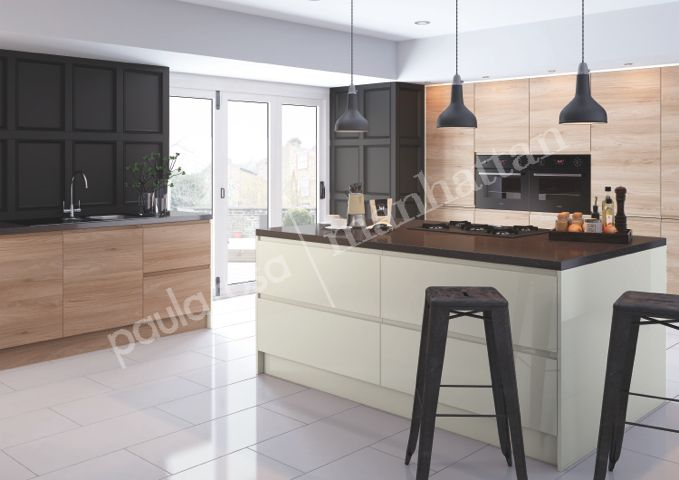 natural cream colour and elm wood effect modern fitted. Black Bedroom Furniture Sets. Home Design Ideas