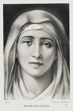 A Spanish holy card of Our Lady of Sorrows of Quito, Ecuador.