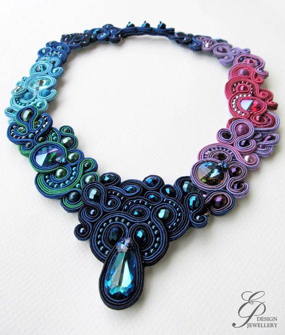 Mystical midnight pendant Jewelry Soutache by EditBeadIt