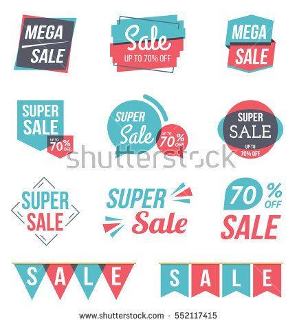 Super sale and mega sale banners, sale stickers set, flat design, vector eps10 illustration