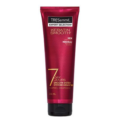 TRESemmé® 7 Day Keratin Smooth™ Heat Activated Treatment THE SCOOP: Hair-strengthening keratin repair actives and innovative thermal technology work with heat stylers to bond to the hair cuticle, providing seven days* of smooth, frizz-resistant hair that lasts through regular washing. *Up to three washes, when used with a blow-dryer and flat iron Also available: TRESemmé® 7 Day Keratin Smooth™ Shampoo and Conditioner