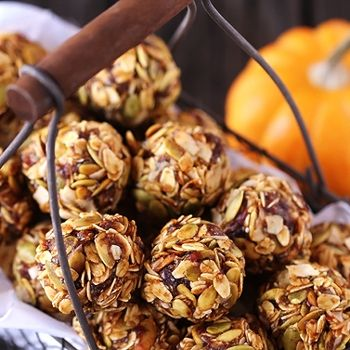 Pumpkin No Bake Energy Bites ... Ingredients include: dates, honey, pumpkin, chia (or flax) seeds, spices, oats, coconut flakes, pumpkin seeds.