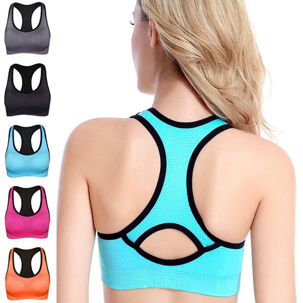 Women Shakeproof Running Fitness Yoga Seamless Bra Wireless Breathable Gym Tank Vest Top at Banggood