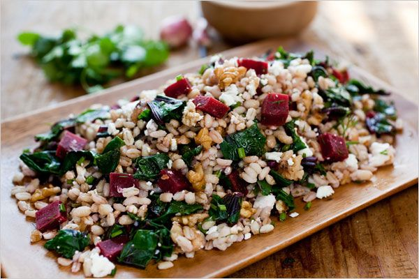 Farro Salad With Beets, Beet Greens and Feta - beets w/ greens, beets roasted, the greens stemmed and washed; 1 cup farro, soak for one hour, drained; Salt; 2 Tb sherry vinegar; 1 tea balsamic vinegar; 1 garlic clove, minced; 1 tea Dijon mustard; 1/2 cup  evoo; 1/2 cup walnut pieces; 2 oz feta or goat cheese; 1/4 cup chopped fresh herbs, such as parsley, tarragon, marjoram, chives, mint  #simple