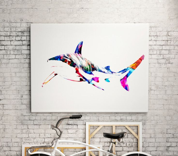 White shark Watercolor animal print  - abstract poster - illustration -Digital wall art Print - painting - Home decor by WatercolorMary on Etsy https://www.etsy.com/listing/268495411/white-shark-watercolor-animal-print