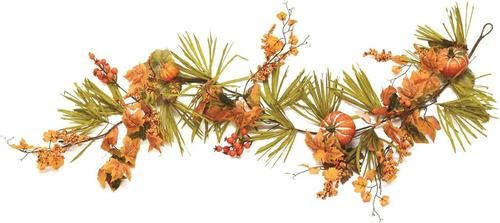 5' Autumn Harvest Decorative Artificial Pumpkins Berries Leaves and Grass Garland - Unlit