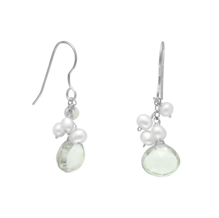 Green Amethyst and Cultured Freshwater Pearl French Wire Earrings by GraceandPoppy on Etsy