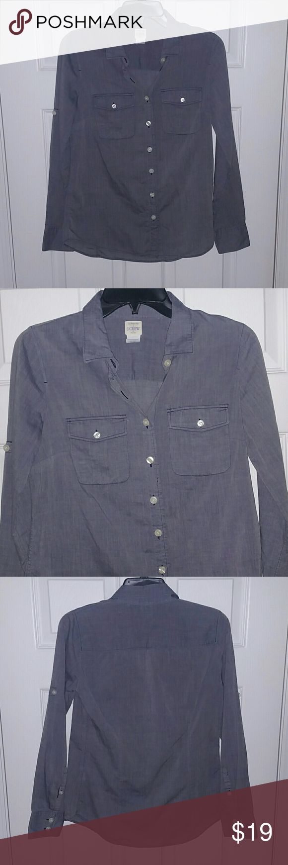 """JCREW LIGHTWEIGHT BUTTON DOWN SHIRT DENIM COLOR XS J CREW """"THE PERFECT SHIRT"""" COMFY & LIGHTWEIGHT, DENIM COLOR, BUTTON DOWN, LONGSLEEVE SHIRT.  SIZE: XS  EUC: Excellent Used Condition. Worn less than a handful of times. Gently Laundered!  100% Cotton  FAST SHIPPING! Same or Next Day Shipping!  No Smoking, Buy It Now, Bundle Discounts Available, Reasonable Offers Accepted, Sorry NO Trades!!  HAPPY SHOPPING=) J. Crew Tops Button Down Shirts"""