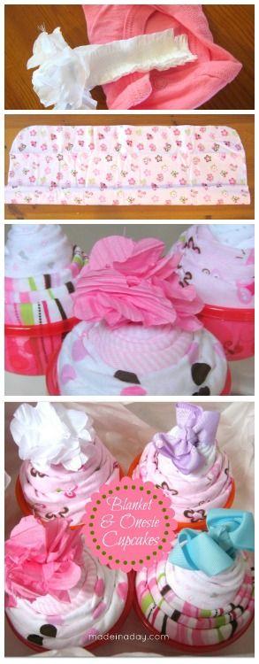 Easy DIY Baby Onesie Cupcake tutorial madeinaday.com