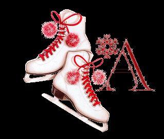 Alfabeto tintineante con patines de hielo.