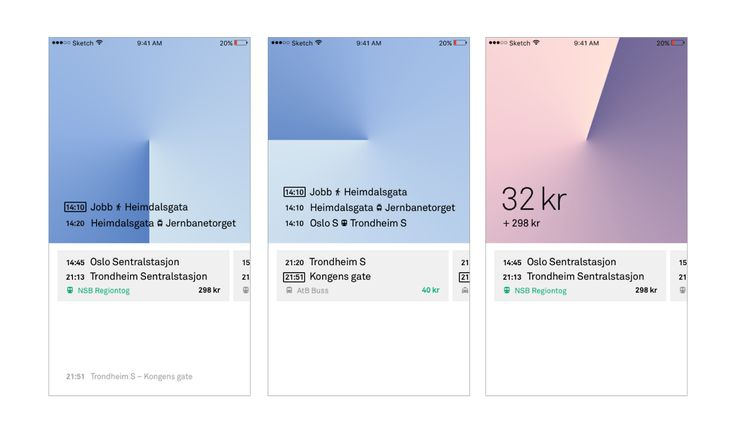 User interface for a public transport and national travel booking application by Fredrik Lien Bjørgmo