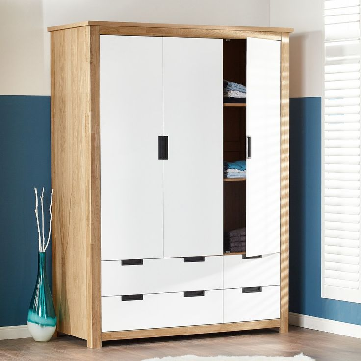 Kleiderschrank Svendborg (3-türig, Eiche, weiß) - Kleiderschränke - Schlafzimmer - Räume - Dänisches Bettenlager