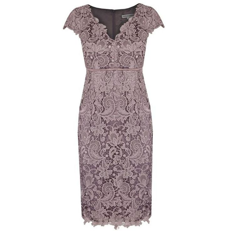 Sheath V-neck Cap Sleeves Lace Empire Mother of The Bride Dress with Sash