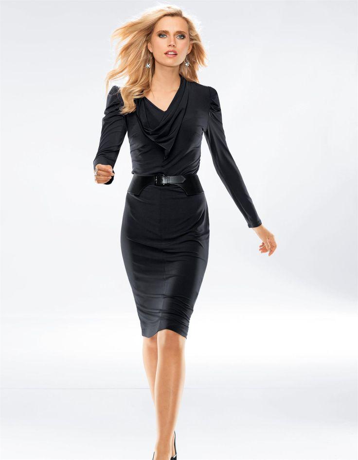 Джерси платье в черный, слива - фиолетовый, синий - в Мадлен моды Интернет-магазин