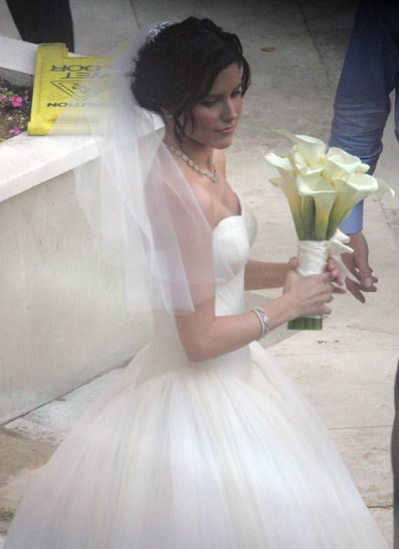 Sophia Bush in a Vera Wang gown at her wedding to Chad Michael Murray.