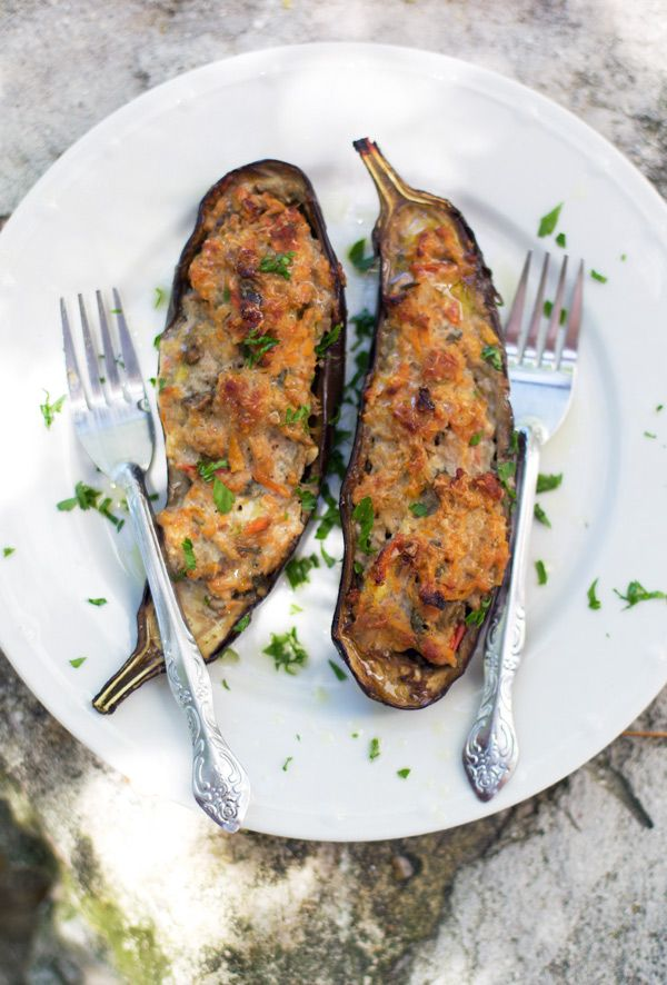 Eggplant Stuffed with Pork, Vegetables and Spices by latartinegourmande --leave out swt pot or replace it...