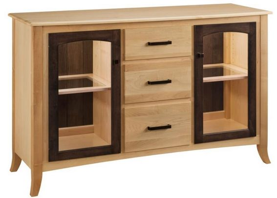 The dark, contrasting wood outline of the window cabinets on this Manchester Buffet really spice it up.