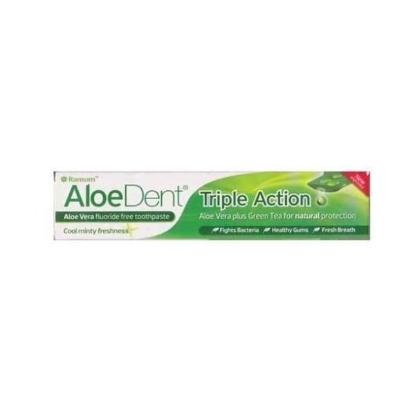 Aloe Dent Triple Action Aloe Vera Toothpaste + Co Q10 + Tea Tree + Chitosan is a breakthrough in the science of oral hygiene. In Aloe Dent the water is replaced with soothing Aloe Vera juice, which is combined with a powerful blend of carefully selected natural, active ingredients to create a truly exceptional toothpaste. Regular brushing with Aloe Dent gives you front line support in the fight against gum disease and dental decay ... naturally ... and still leaves your mouth feeling…