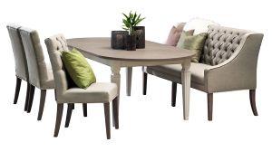 Seaside spisebord, spisebenk, 3 stoler