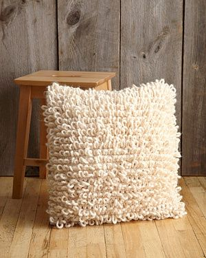 -^^-  FREE CROCHET PATTERN ---Loop Stitch Pillow, can become a lovely rag rug too ... when you have lots of old fabric