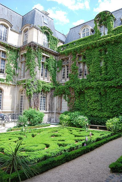 Stunning, even though it's only green. #Museum #Garden in Le Marais, #Paris