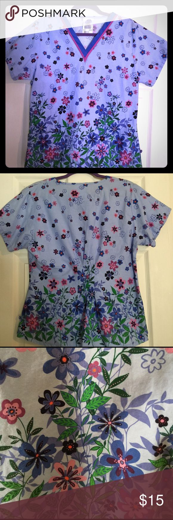 Landau Scrub Top Multi Color - Excellent Condition Designer Scrub Top. Used only twice . Perfect for Spring. Tops Tunics